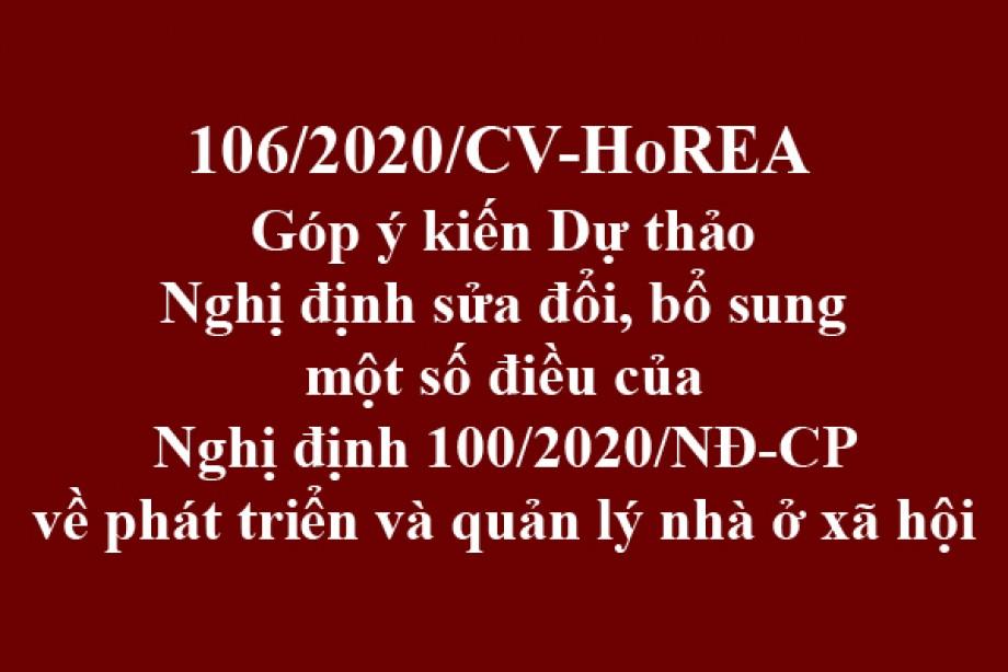 106/2020/CV- HoREA, ngày 09 tháng 10 năm 2020 Góp ý kiến Dự thảo Nghị định sửa đổi, bổ sung một số điều của Nghị định 100/2020/NĐ-CP về phát triển và quản lý nhà ở xã hội
