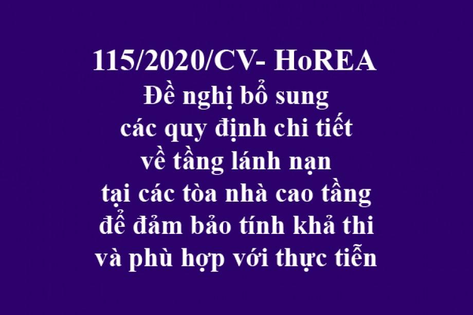 115/2020/CV- HoREA, ngày 22 tháng 10 năm 2020 Đề nghị bổ sung các quy định chi tiết về tầng lánh nạn tại các tòa nhà cao tầng để đảm bảo tính khả thi và phù hợp với thực tiễn