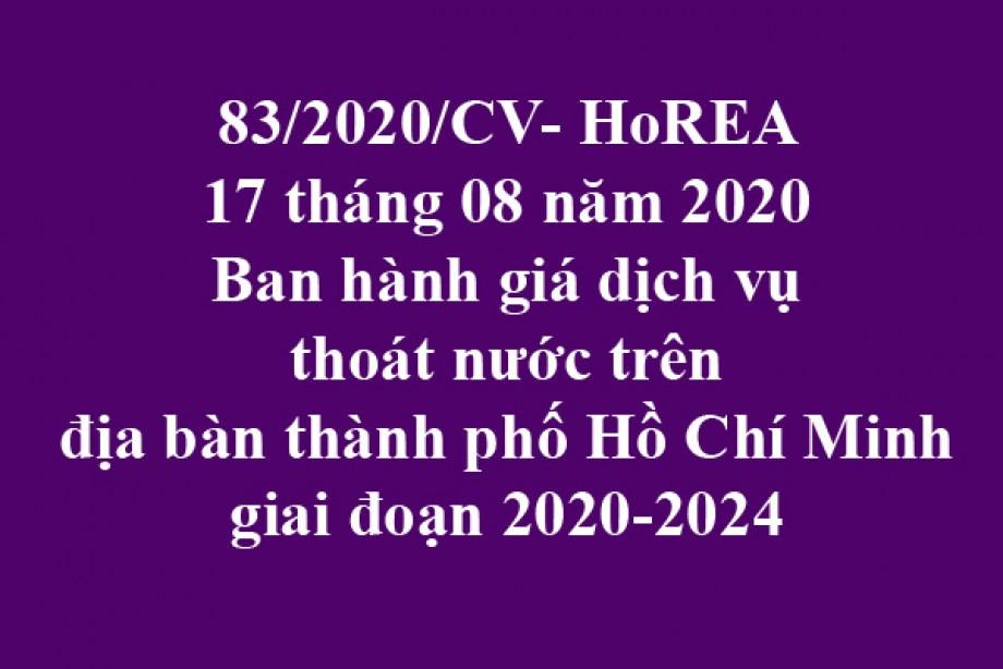 83/2020/CV- HoREA, ngày 17 tháng 08 năm 2020 ban hành giá dịch vụ thoát nước trên địa bàn thành phố Hồ Chí Minh giai đoạn 2020-2024