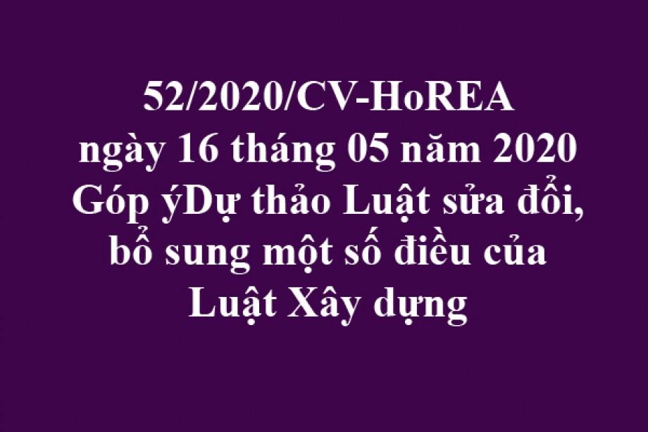52/2020/CV-HoREA, ngày 16/05/2020 góp ý dự thảo Luật sửa đổi, bổ sung một số điều của Luật Xây dựng