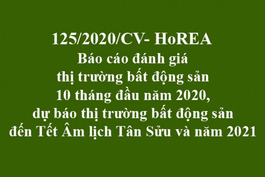 125/2020/CV- HoREA, ngày 12 tháng 11 năm 2020 báo cáo đánh giáthị trường bất động sản10 tháng đầu năm 2020, dự báo thị trường bất động sản đến Tết Âm lịch Tân Sửu và năm 2021