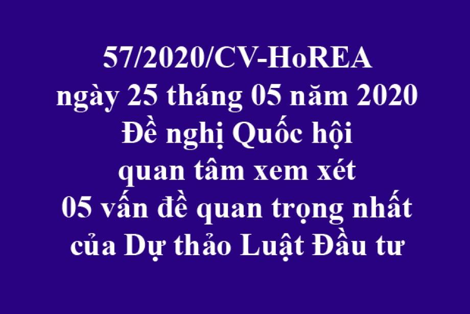 57/2020/CV-HoREA, ngày 25/05/2020 đề nghị Quốc hội quan tâm xem xét 05 vấn đề quan trọng nhất của Dự thảo Luật Đầu tư