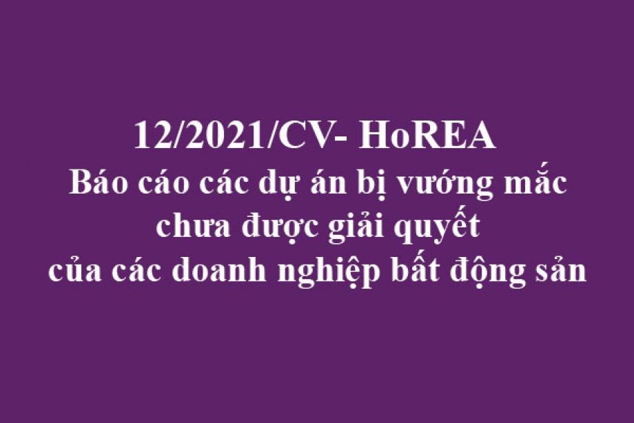 12/2021/CV- HoREA, ngày 26 tháng 02 năm 2021 Báo cáo các dự án bị vướng mắc chưa được giải quyết của các doanh nghiệp bất động sản