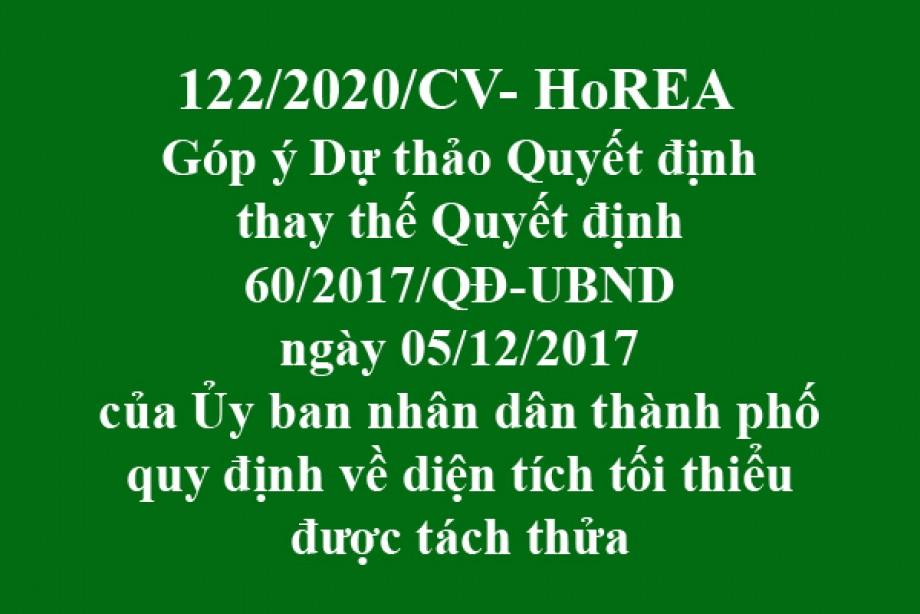 122/CV-HoREA, ngày 05 tháng 11 năm 2020 Góp ý Dự thảo Quyết định thay thế Quyết định 60/2017/QĐ-UBND ngày 05/12/2017 của Ủy ban nhân dân thành phố quy định về diện tích tối thiểu được tách thửa