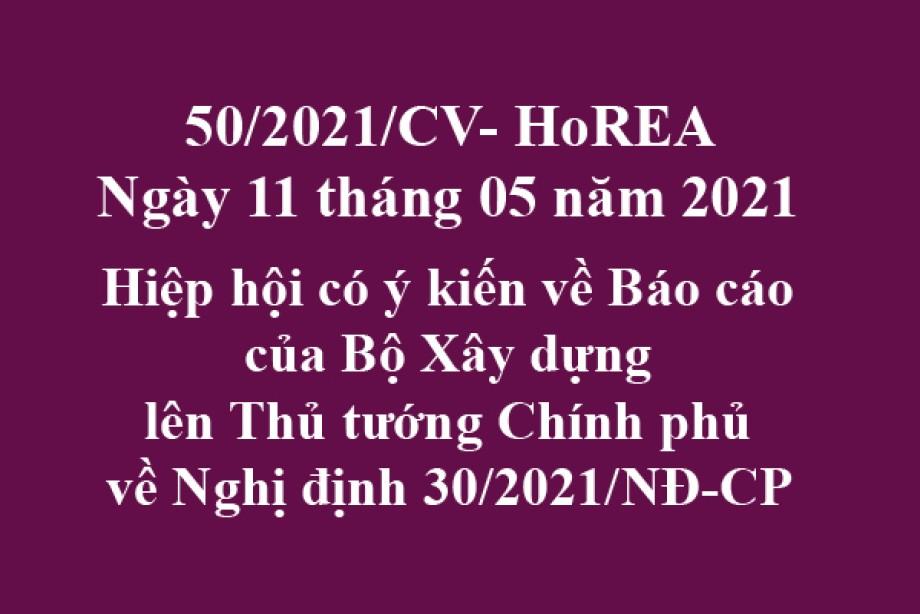 Công văn 50/2021/CV- HoREA, ngày 11 tháng 05 năm 2021 Hiệp hội có ý kiến về Báo cáo của Bộ Xây dựng lên Thủ tướng Chính phủ về Nghị định 30/2021/NĐ-CP