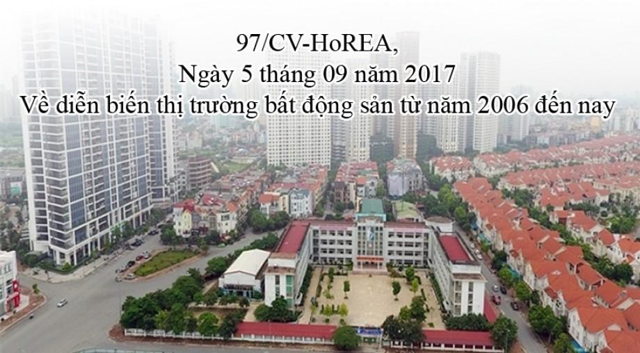 97/CV-HoREA, ngày 5 tháng 9 năm 2017, Về diễn biến thị trường bất động sản từ năm 2006 đến nay