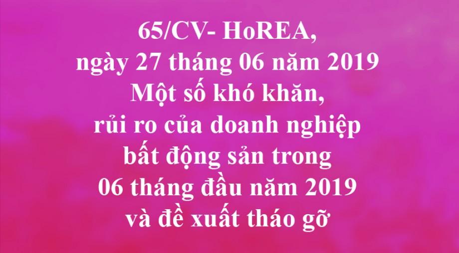 65/CV- HoREA, Một số khó khăn, rủi ro của doanh nghiệp bất động sản trong 06 tháng đầu năm 2019 và đề xuất tháo gỡ